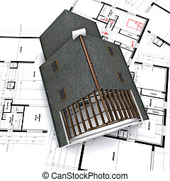 house on blueprints with notes