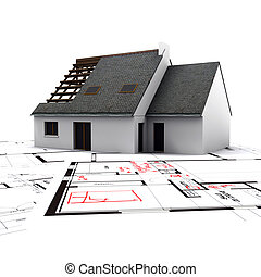 house on blueprints with red corrections