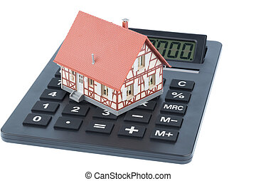 house on calculator - residential building on a calculator,...