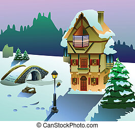 house on christmas season vector - Vector illustration of...