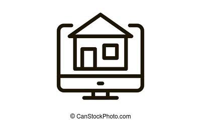 house on computer display Icon Animation. black house on computer display animated icon on white background