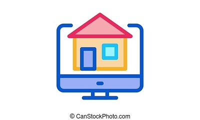 house on computer display Icon Animation. color house on computer display animated icon on white background