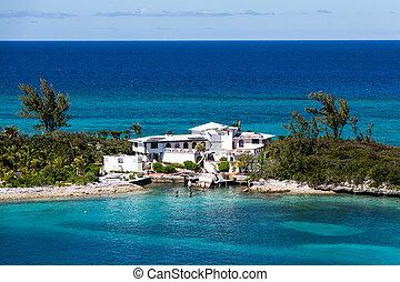 House on Finger of Land with Hurricane Damage