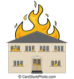 House on fire - Cartoon illustration showing a two-storey...