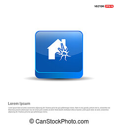 House on fire icon - 3d Blue Button