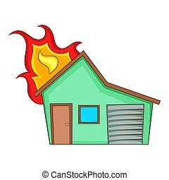 House on fire icon, cartoon style