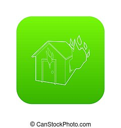 House on fire icon green