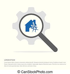 House on fire icon Search Glass with Gear Symbol Icon template