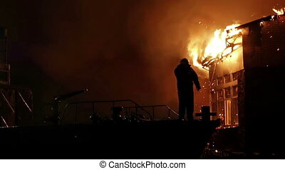House on fire. Inferno conflagration. - House building on...