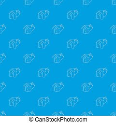 House on fire pattern seamless blue