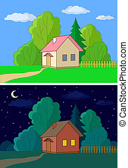House on forest edge, night, day - Landscape, country houses...