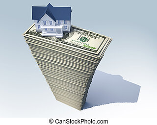 House on money - House on a stack of U.S. dollars, real...