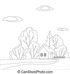 House on nature, contour