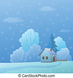 House on nature, winter day
