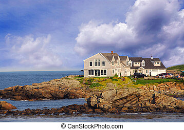 House on ocean shore in Maine, USA