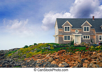 House on ocean shore in Perkins Cove, Maine