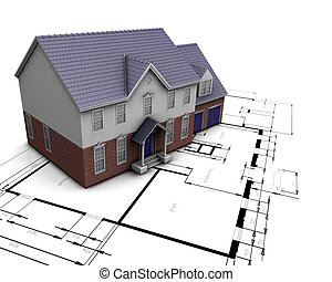 House on plans - 3D render of a house on plans