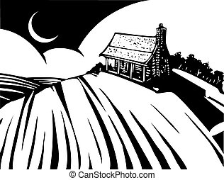 House on Prairie - Woodcut style image of a log cabin house...
