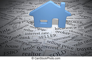 Home symbol on real estate for sale words like mortgage interest sold