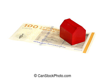 House on red Dannish banknote