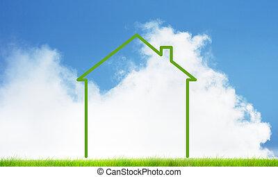 House on sky landscape