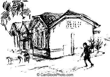 House on street, vector illustration