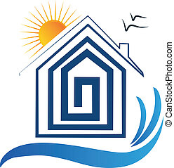 House on the beach, sun and birds icon -logo vector