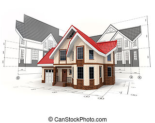 House on the drafts in different projections and blueprints.