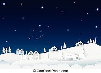 House on the hill night sky with star and comet, nature background