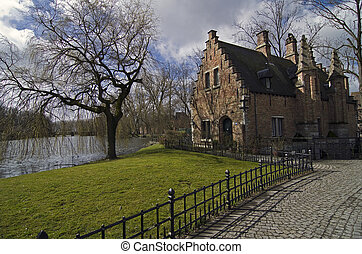 House on the lake in Bruges. - House on the lake in Bruges, ...