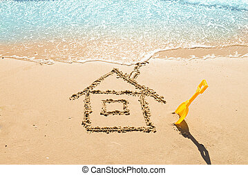 house on the sand - drawing of a house on the beach -...