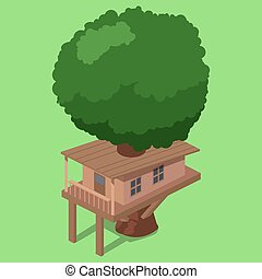House on tree isometric vector illustration