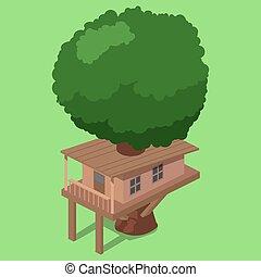 House on tree isometric vector illustration