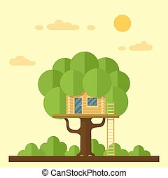 house on tree - picture of a wodden house on the tree, flat ...