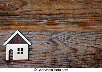 house on wood background