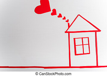 House on wooden white background with red hearts. The concept of
