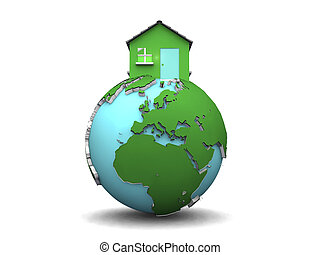 House on world globe