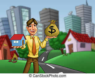 house opportunity - man with a house and a money sack in his...