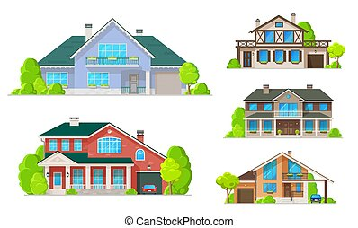 House or home buildings with windows, doors, roofs