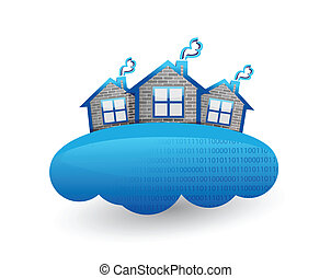 house over clouds. illustration design