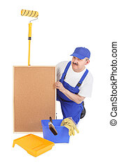House painter and corkboard