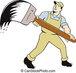 House Painter Giant Paintbrush Cartoon