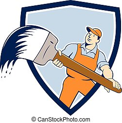 House Painter Giant Paintbrush Shield Cartoon - illustration...