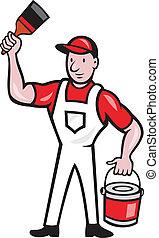 House Painter Holding Paint Can Paintbrush Cartoon -...