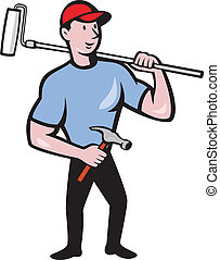 House Painter Holding Paint Roller Cartoon - Illustration of...