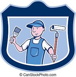 House Painter Holding Paintbrush Roller Cartoon