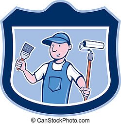 House Painter Holding Paintbrush Roller Cartoon