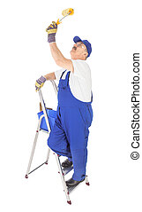 house painter on the ladder