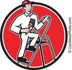 House Painter Paintbrush on Ladder Cartoon