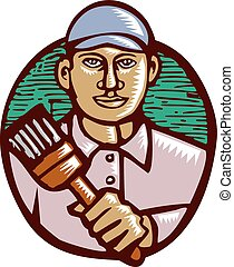 House Painter Paintbrush Woodcut Linocut